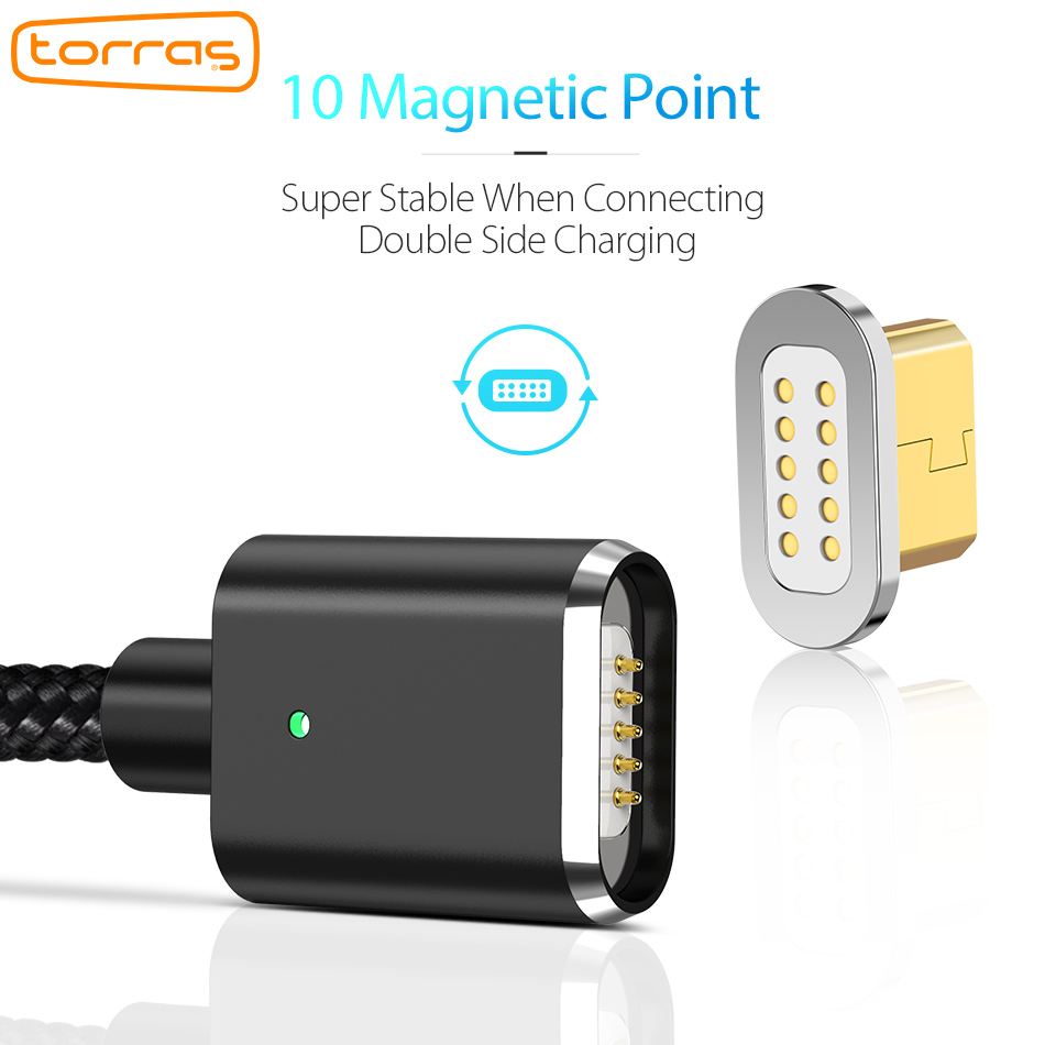 Torras Magnetic Cable Micro Usb Magnet Charger Charging Data Phone Wiring Microusb Cables 2 In 1 For Xiaomi Android Mobile Wires