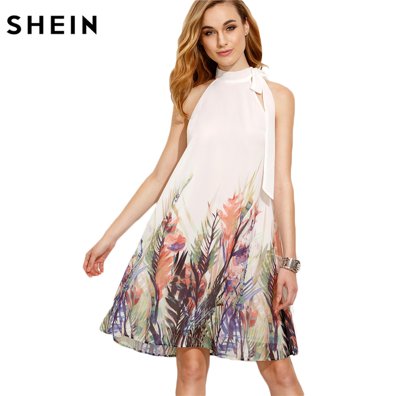 f104f3b4e2 SHEIN Casual Dresses for Woman New Summer Style Womens Boho Dress Beige  Print Bow High Neck Sleeveless Straight Dress