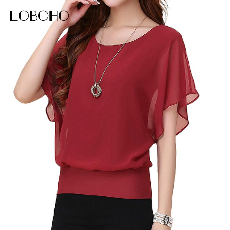 1f6de53792eb New Womens Tops Fashion 2018 Women Summer Chiffon Blouse Plus Size Ruffle  Batwing Short Sleeve Casual Shirt Black White Red Blue