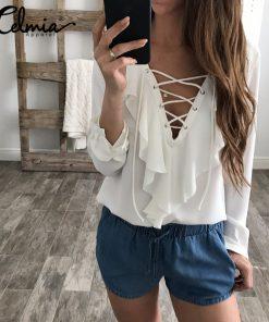 8db6abc5eea7 Sexy Top Women Chiffon Blouse 2018 Celmia Summer Autumn Lace Up V Neck  Ruffles Long Sleeve Shirt Casual Plus Size Blusa Feminina – Buyme.com.au