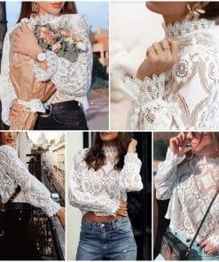 Simplee Elegant white lace blouse shirt