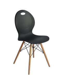 Set of 2 Eames look Trenz dining chair Black with solid natural Red oak legs