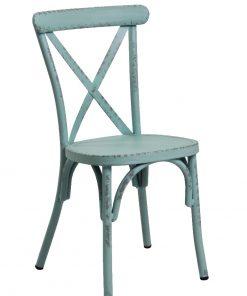 Retro Blue Aluminium Cross Back Chair Set Of 2
