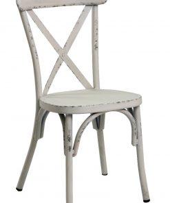 Retro White Aluminium Cross Back Chair Set Of 2