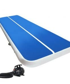 Everfit 4X2M Inflatable Air Track Mat 20CM Thick with Pump Tumbling Gymnastics Blue