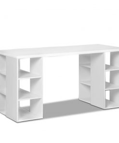 Artiss 3 Level Desk with Storage & Bookshelf - White