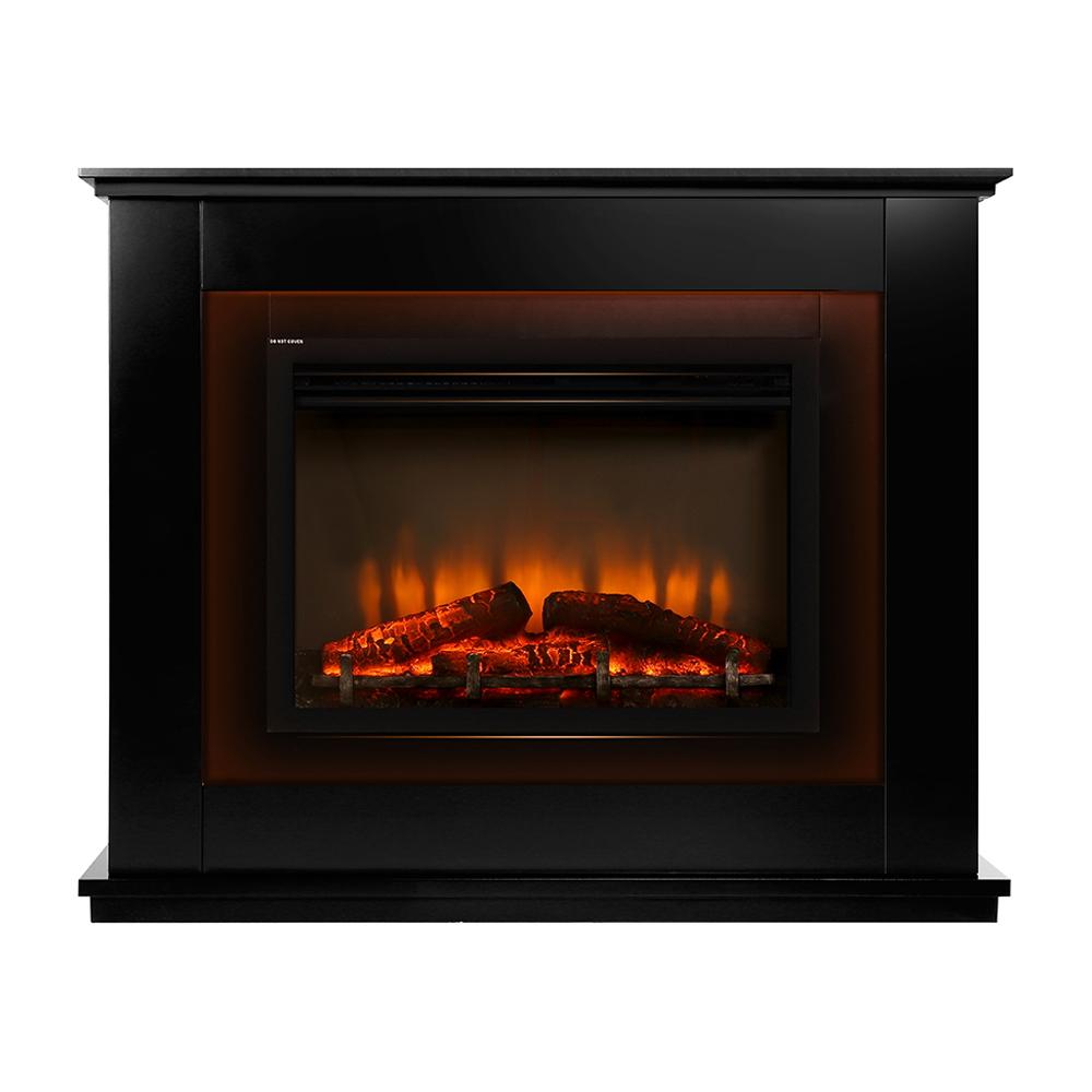 Devanti 2000W Electric Fireplace Mantle Portable Fire Log Wood Heater 3D Flame Effect Black