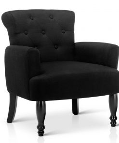 Artiss French Lorraine Chair Retro Wing - Black