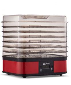 Devanti 7 Trays Food Dehydrators Fruit Dryer Beef Jerky Maker Stainless Steel Red