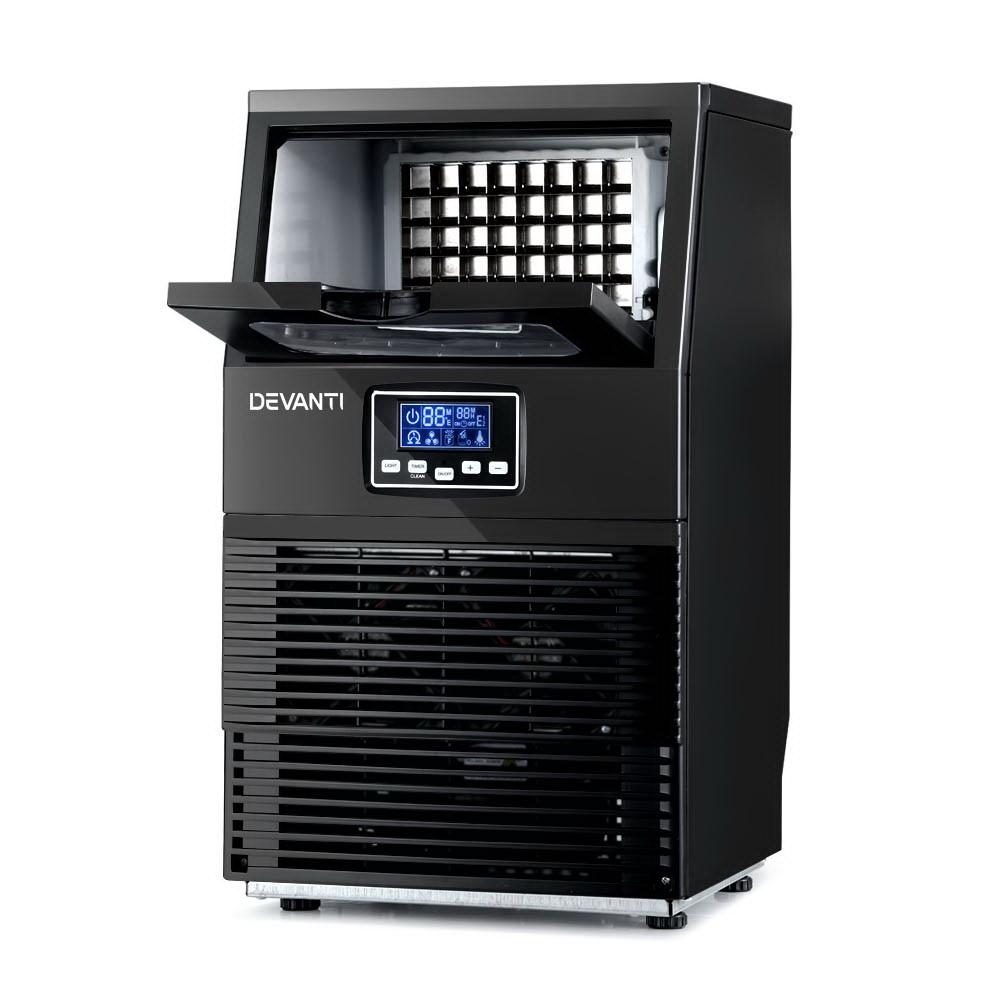 Devanti Ice Maker Machine Commercial Square Ice Cube Black LCD Display