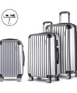 Wanderlite 3 Piece Lightweight Hard Suit Case Luggage Silver