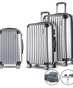 Wanderlite 3 Piece Luggage Suitcase Trolley - Silver