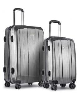Wanderlite 2 Piece Lightweight Hard Suit Case Luggage Grey