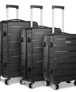 Wanderlite 3PC Luggage Suitcase Trolley - Black
