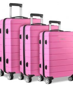 Wanderlite 3PC Luggage Suitcase Trolley - Pink