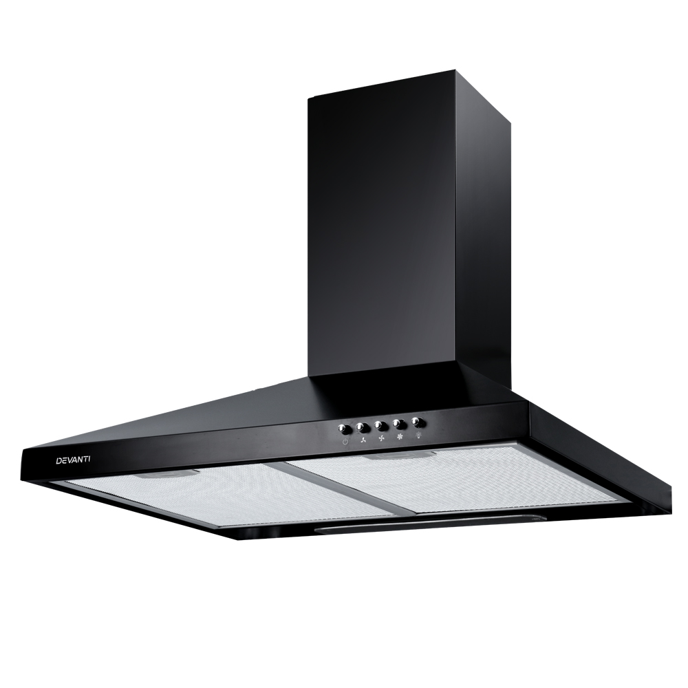 DEVANTi 600mm 60cm Rangehood Stainless Steel Range Hood Home Kitchen Canopy Black