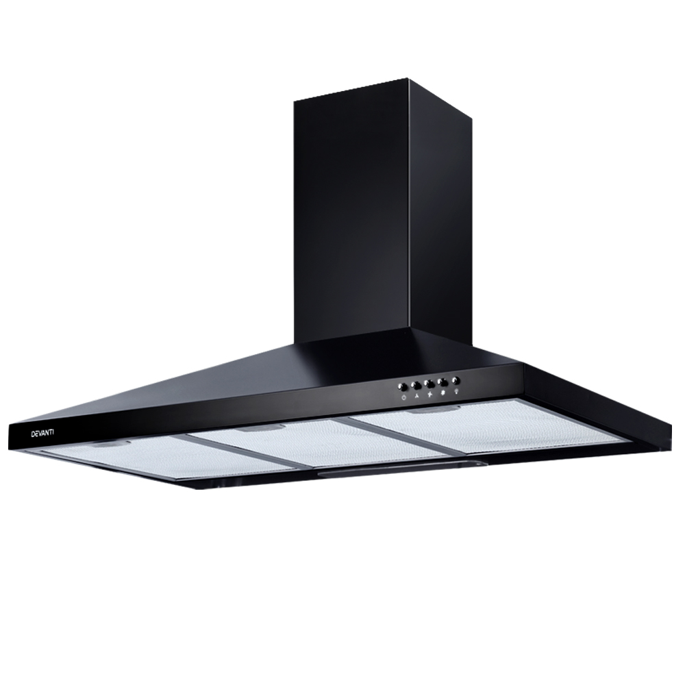 DEVANTi 900mm 90cm Rangehood Stainless Steel Range Hood Home Kitchen Canopy Black
