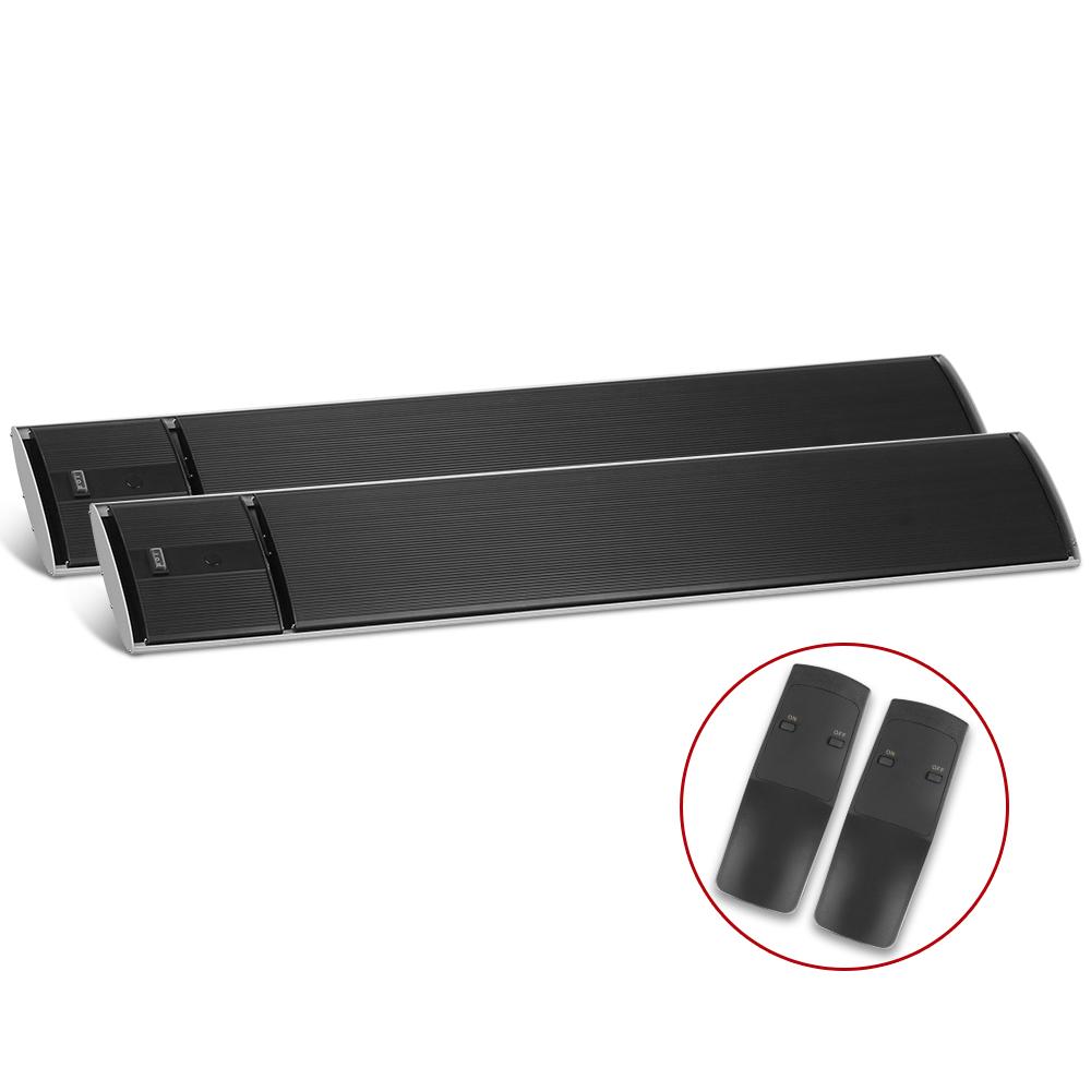 Devanti 2X 2400W Electric Radiant Strip Heater Outdoor Panel Heat Bar Remote Control Black