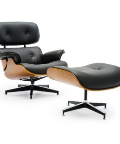 Replica Eames Lounge Chair & Ottoman Black PU Leather / Walnut Wood
