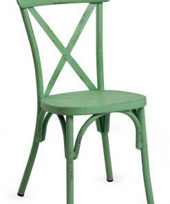 Retro Green Aluminium Cross Back Chair Set Of 2