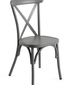 Retro Grey Aluminium Cross Back Chair Set Of 2