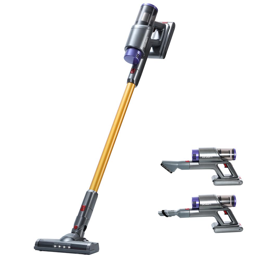Devanti 150W Handstick Stick Vacuum Cleaner Handheld Cordless Vac Headlight Gold and Grey