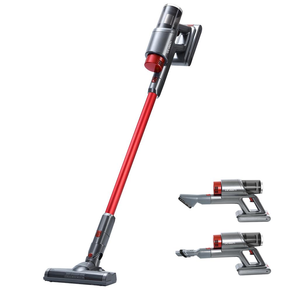 Devanti 150W Handstick Cordless Vacuum Cleaner Handheld Stick Vac Headlight Red and Grey