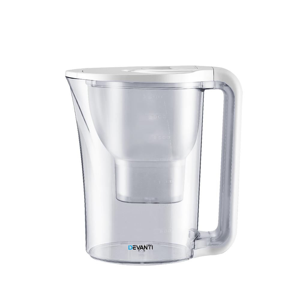 Devanti 3.5L Bench Top Water Filter Pitcher Purifier Jug Kettle Bottle Portable White