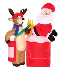 Jingle Jollys 1.8M Christmas Inflatable Santa on Fire with Reindeer Xmas Decor LED