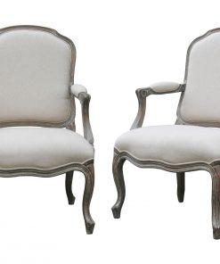 Wash White Louis XV Chair