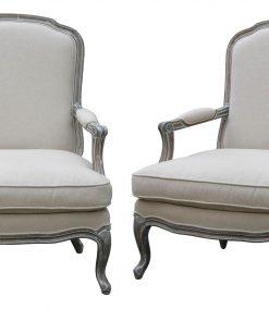 Wash White Louis XV Arm Chair