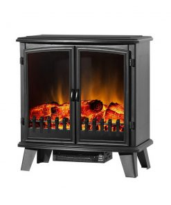 Devanti Electric Fireplace Heater Portable Fire Log Wood Effect Dual Door 1800W Black