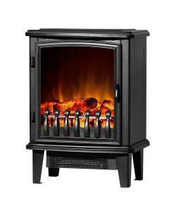 Devanti Electric Fireplace Heater Portable Fire Log Wood Effect Single Door 1800W Black