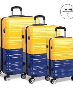Wanderlite 3 Piece Lightweight Hard Suit Case Luggage Yellow & Purple
