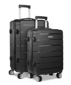Wanderlite 2PC Luggage Suitcase Trolley - Black