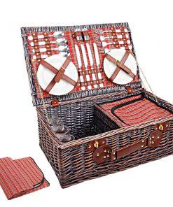 Alfresco 4 Person Picnic Basket Baskets Red Handle Outdoor Corporate Blanket Park