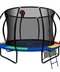 Everfit 10FT Trampoline With Basketball Hoop - Rainbow
